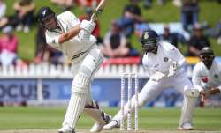 Kyle Jamieson of New Zealand bats during day three of the
