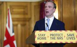 In this photo provided by 10 Downing Street, Britain's Foreign Secretary Dominic Raab delivers a spe