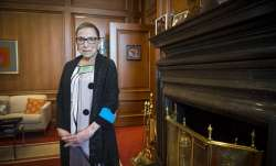 FILE - In this July 31, 2014, file photo, Associate Justice Ruth Bader Ginsburg is seen in her chamb