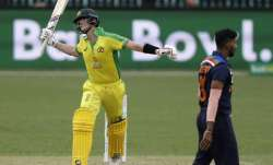 Australia's Steve Smith reacts while batting during the one