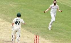 Mohammed Siraj of India celebrates the wicket of Steve