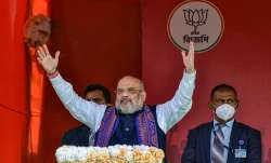 Union Home Minister Amit Shah addresses a public rally at