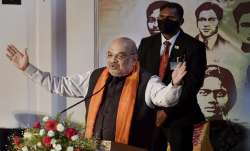 File photo: Union Home Minister Amit Shah addresses an