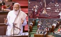 Prime Minister Narendra Modi speaks in the Rajya Sabha during ongoing Budget Session of Parliament
