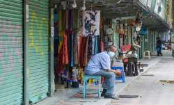 Few shops open at Connaught Place during the ongoing