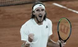 Stefanos Tsitsipas of Greece celebrates after defeating