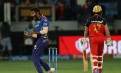 Jasprit Bumrah reacts after dismissing De Villiers