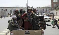 Taliban fighters patrol in Kabul, Afghanistan
