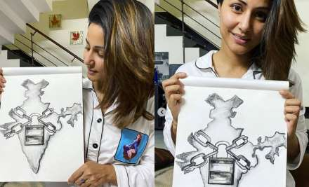 COVID-19: Hina Khan sketches India in lock and depicting lockdown