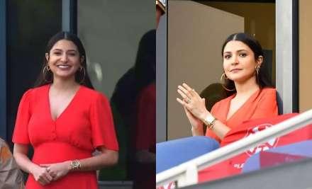 Mommy-to-be Anushka Sharma flaunts her baby bump as she cheers for hubby Virat Kohli