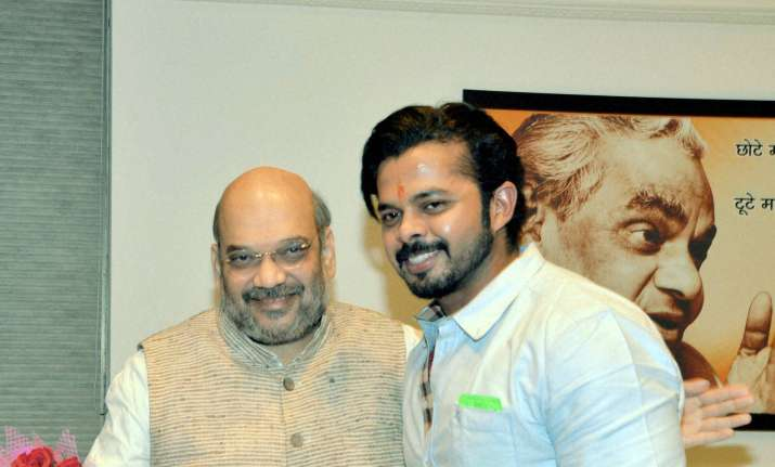S Sreesanth with BJP President Amit Shah