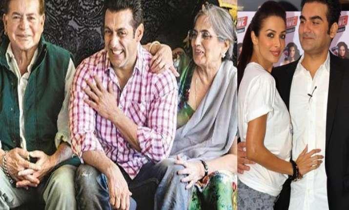 Salman Khan with his parents, Arbaaz Khan with Malaika Arora