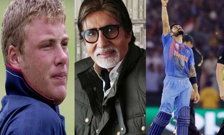 Andrew Flintoff, Amitabh Bachchan and Virat Kohli