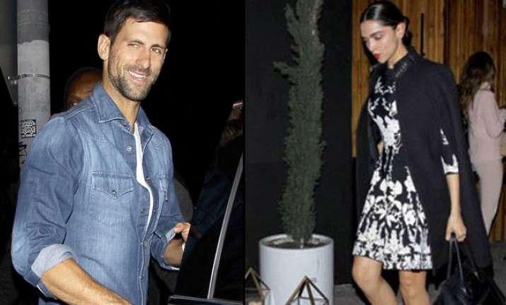 Deepika Padukone With Novak Djokovic Outside A Plush Bar