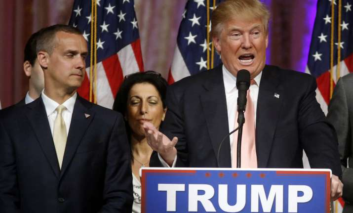 Donald Trump with campaign manager Corey Lewandowski on