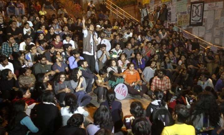 JNU students celebrate after Student Union president