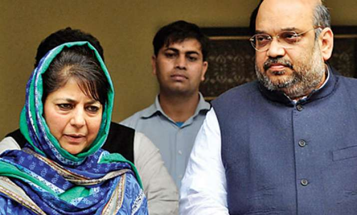Mehbooba Mufti and Amit Shah