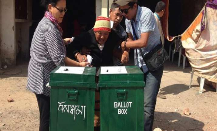Thousands of Tibetans turned up at the voting booths to