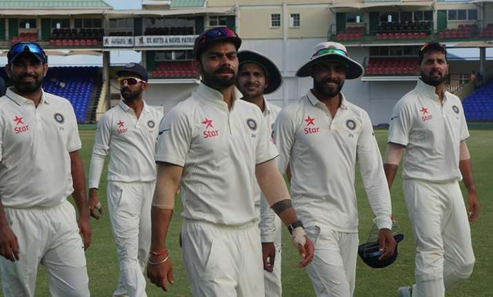 Team India during practice warm up match in West Indies