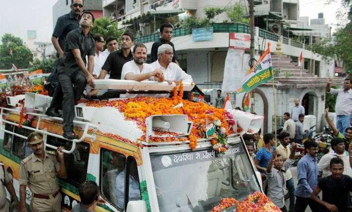 Congress VP Rahul Gandhi during his Kisan Yatra in Kanpur