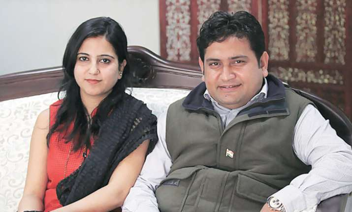 Sandeep Kumar with his wife Ritu