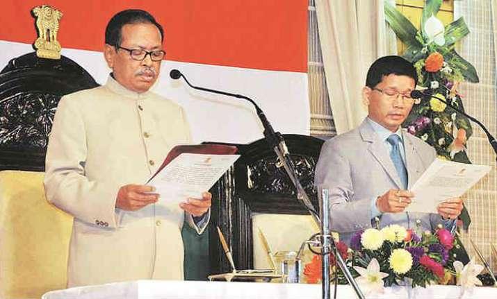 Kalikho Pul being sworn in as CM of Arunachal Pradesh by