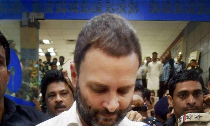 Rahul Gandhi at SBI bank, Delhi