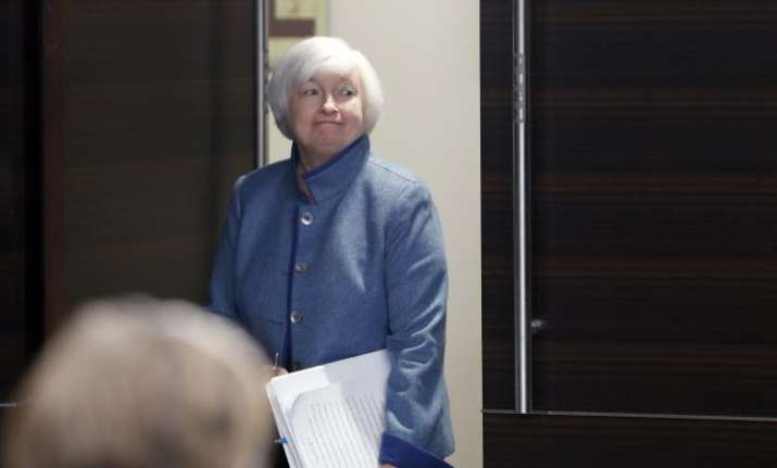 Federal Reserve Board Chair Janet Yellen arrives for a news