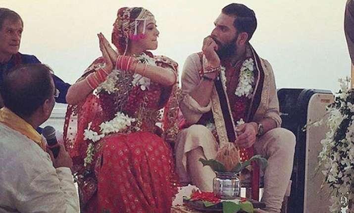 A still from Yuvraj-Hazel's Goa wedding