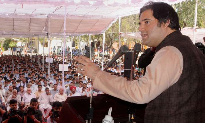 BJP MP Varun Gandhi addressing a rally in Indore on Tuesday