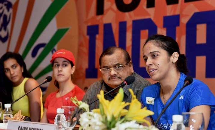 Nehwal speaks as Akhilesh Das Gupta, Sindhu, Marin look on