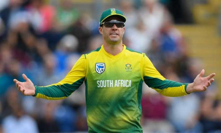 Captain AB de Villiers reacts during the match