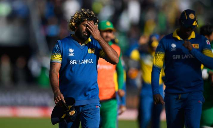 Lasith Malinga reacts after the ICC Champions League match