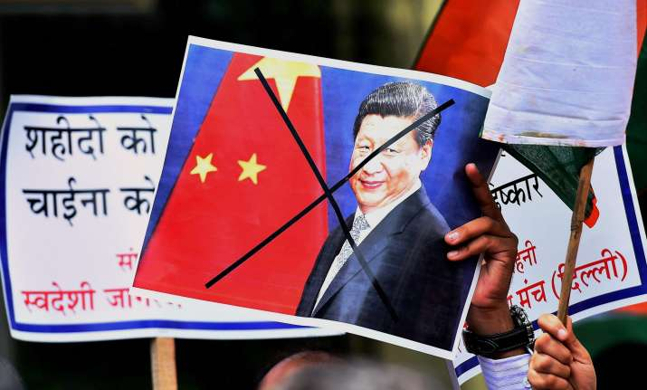 Protest against China near Chinese embassy in New Delhi on