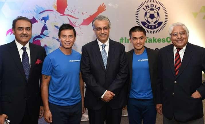 AIFF President Praful Patel with Baichung Bhutia and Sunil
