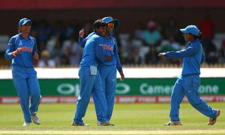 Deepti Sharma celebrates with captain Mithali Raj