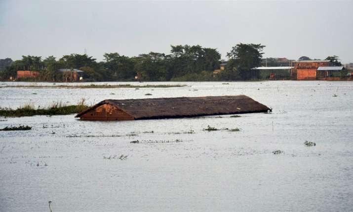 An inundated village at Suprakandhi in flood-hit Karimganj