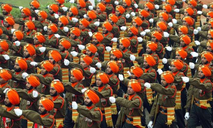 A contingent of the Indian Army marching during the