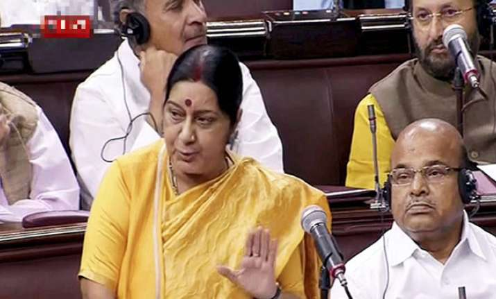 Sushma Swaraj addresses members of the Rajya Sabha on