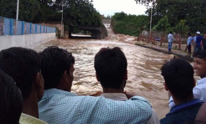 Part of the dam collapsed leading to water-logging in low