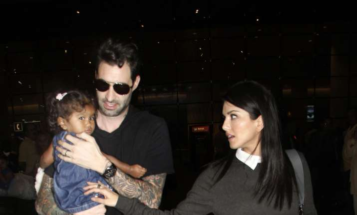 Sunny Leone and husband Daniel Weber clicked with daughter