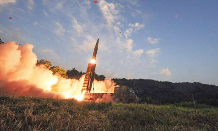 South Korea's Hyunmoo II ballistic missile is fired during