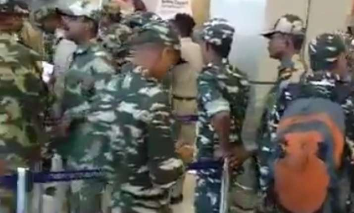 Public welcomes CRPF personnel at Jammu airport with