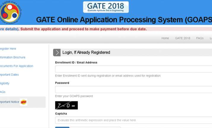 GATE 2018 online registration closes on October 5