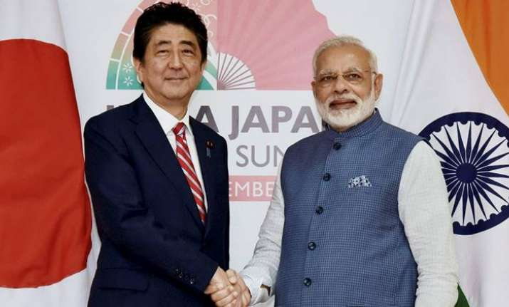 File photo of Shinzo Abe with Prime Minister of India