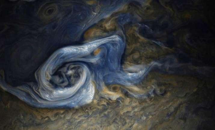 A raging storm in Jupiter's northern hemisphere