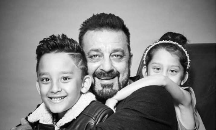 Sanjay Dutt with Iqra and Shahraan