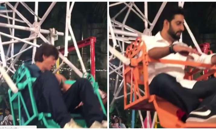 Shah Rukh Khan and Abhishek Bachchan on giant wheel