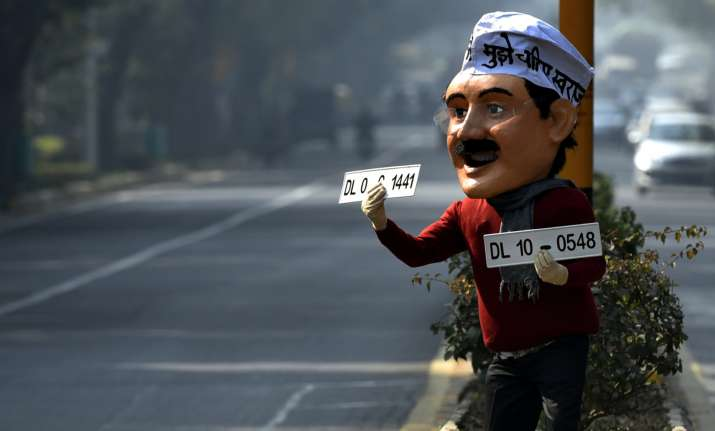 File photo of a man dressed as Delhi CM Arvind Kejriwal