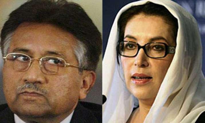 Former Pakistan president Pervez Musharraf and Benazir